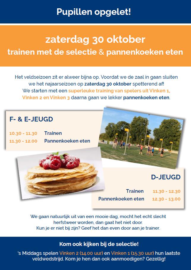 Pupillen trainingsochtend | zaterdag 30 oktober